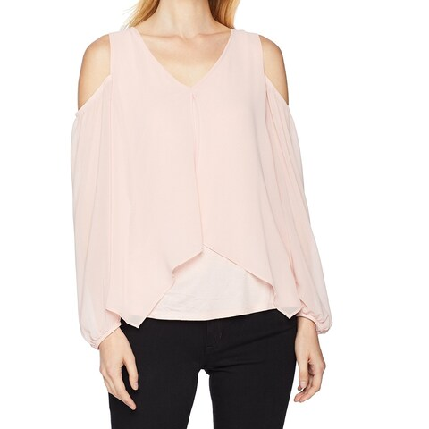 BCX Pink Size Small S Junior Cold Shoulder V-Neck Cinched Blouse
