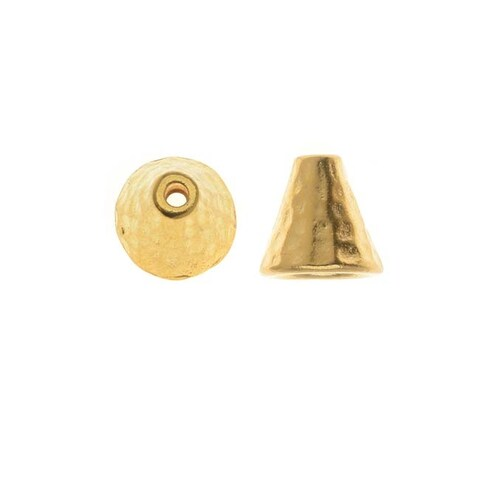 TierraCast 22K Gold Plated Pewter Hammered Cone Bead Caps 8mm (x2)