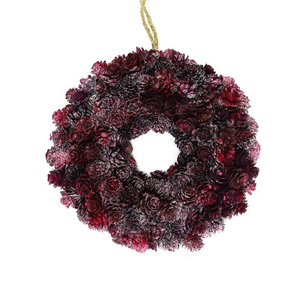 "9"" Wine Burgundy Glitter Pine Cone Artificial Christmas Wreath - Unlit - RED"