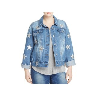 Bagatelle Womens Plus Denim Jacket Metallic Embroidered
