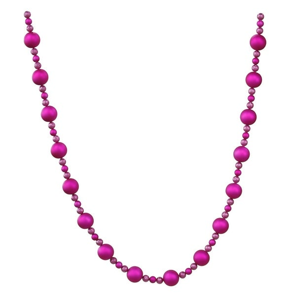 9' X 70-30Mm Cerise Matte Ball Garland