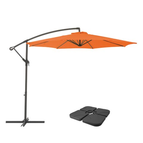 "CorLiving 9.5"" UV Resistant Orange Patio Umbrella with Base Weights"