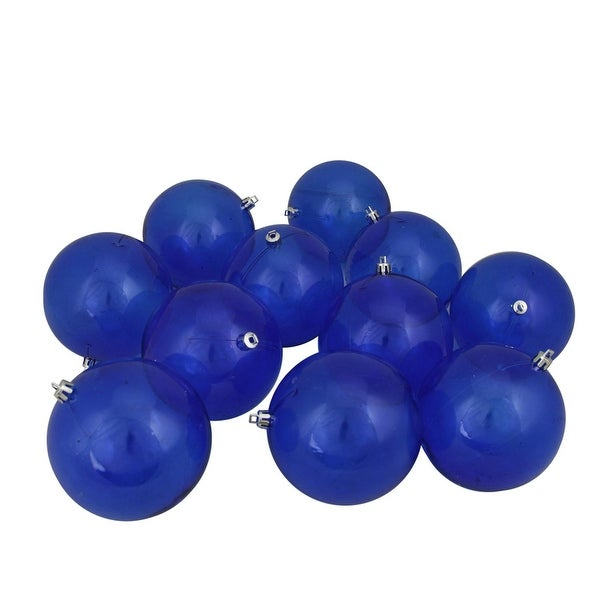 "12ct Blue Transparent Shatterproof Christmas Ball Ornaments 4"" (100mm)"