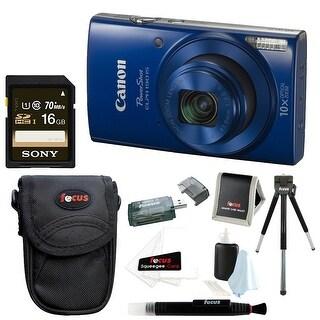 Canon PowerShot ELPH 190 IS 20 MP Digital Camera (Blue) w/ 16GB Accessory Bundle