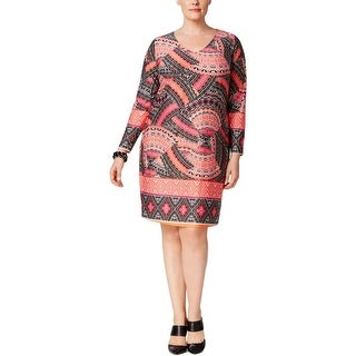 NY Collection Womens Plus Casual Dress Shift Printed