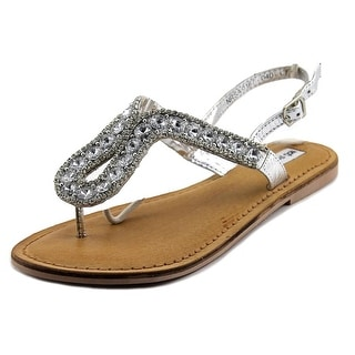 Not Rated Dragonfly Women Open Toe Leather Silver Thong Sandal