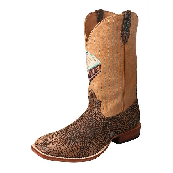 HOOey Western Boots Mens Gold Buckle Wide Square Brown Tippie