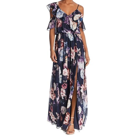 Aqua Blue Women's Size 8 Floral-Print Ruffle Slit Maxi Dress