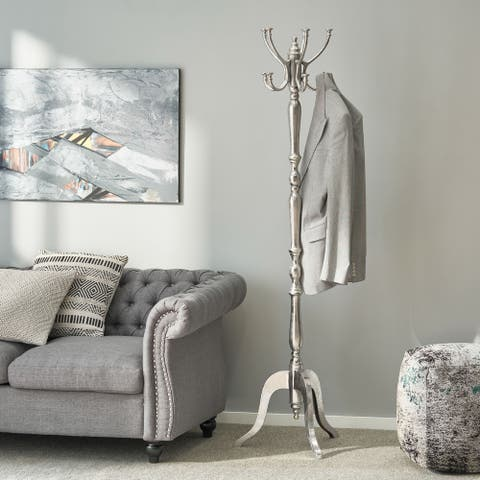 """Cleves Indoor Aluminum Handcrafted Coat Rack by Christopher Knight Home - 19.00"""" L x 19.00"""" W x 70.50"""" H"""