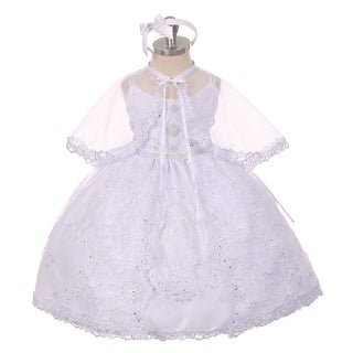 Rainkids Little Girls White Rhinestone Virgin Mary Embroidery Baptism Dress 2-6
