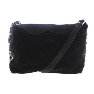 Zara Basic Womens Suede Embellished Hobo Handbag - Black - Medium
