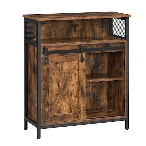 27.6 Inches Wooden Sideboard with Barn Sliding Door, Brown and Black