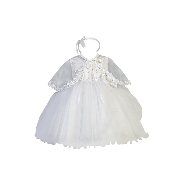 85a12ea4ae218 Shop Baby Girls White Glitter Embroidery Wire Hem Simple Baptism Dress -  Free Shipping Today - Overstock - 23084707