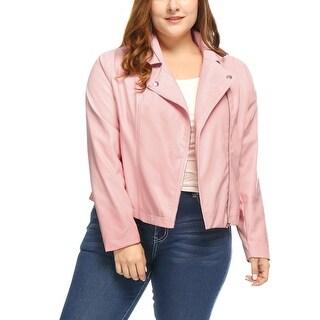 Allegra K Women's Plus Size Asymmetrical Zip Closed Front PU Leather Moto Jacket - Pink