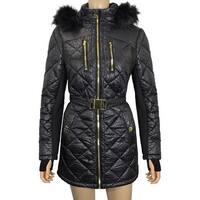 Michael Michael Kors  Black Down Puffer Coat Leopard Print
