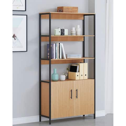 Spirich 4-Tier Open Shelf Bookcase, Home Office Bookshelf with Door,Bookcases and Book Shelves 4 Shelf with Doors