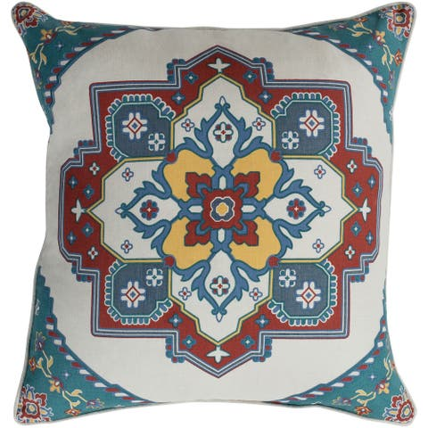 Neptunus Classic Traditional Teal Feather Down or Poly Filled Throw Pillow 20-inch