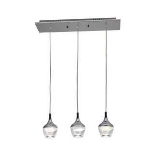 """Bazz Lighting P15033 Nexa 3-Light 23-1/2"""" Wide Integrated LED Linear Chandelier with Clear Acrylic Shade - Chrome - n/a"""