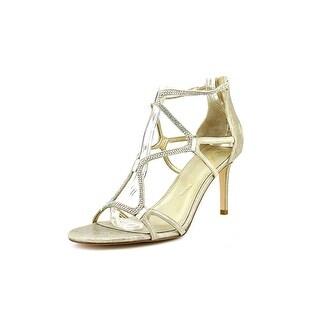 Ivanka Trump Gemma Women Open Toe Leather Gold Sandals