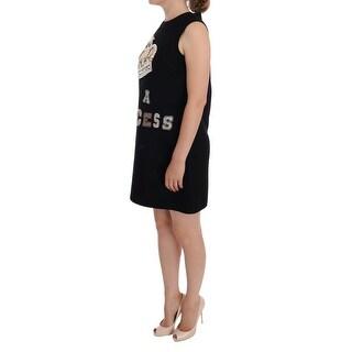 Dolce & Gabbana Black I AM A PRINCESS Crystal Shift Dress - it40-s
