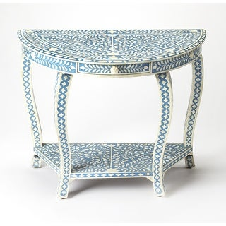 Link to Butler Darrieux Blue Bone Inlay Demilune Console Table Similar Items in Living Room Furniture
