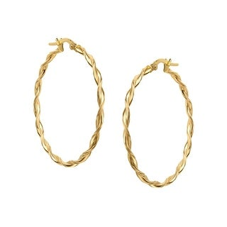 Just Gold Large Twisted Hoop Earrings in 14K Gold