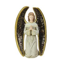 "8"" Joseph's Studio Praying Angel with Mosaic Wings Table Top Christmas Decoration - GOLD"