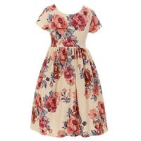 ad50050e2 Kiki Kids Girls Ivory Floral Print Comfortable Short Sleeves Bow Dress 8-12