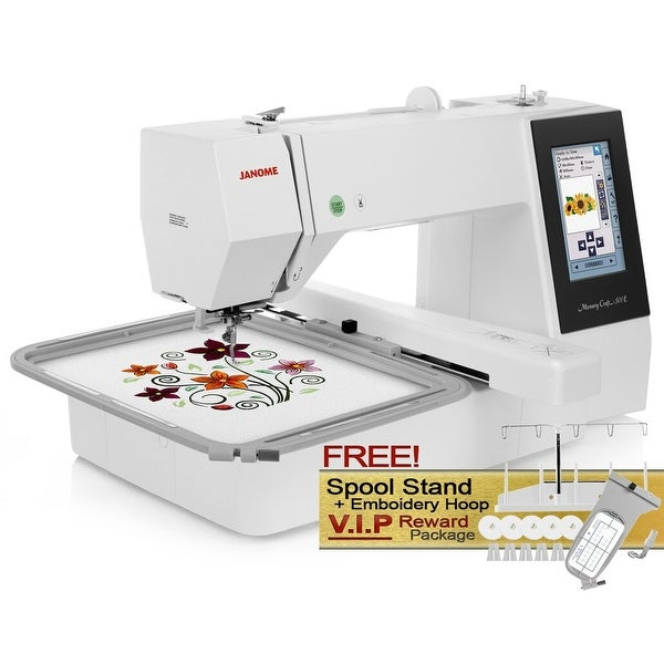 Janome Memory Craft 500e Computerized Embroidery Machine with FREE! Spool Stand + Embroidery Hoop V.I.P Reward Package. Opens flyout.
