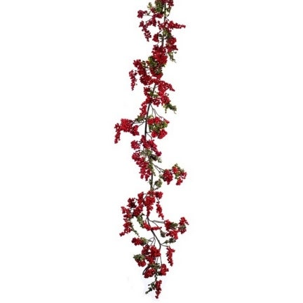 """Set of 2 Traditional Red and Green Berry Artificial Christmas Garland 5"""""""