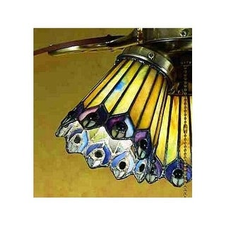 Meyda Tiffany 27474 Stained Glass / Tiffany Fan Light Kit Glassware from the Jeweled Peacock Collection