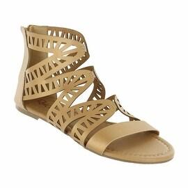 Red Circle Footwear 'Perla' Gold Gladiator Sandal