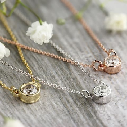 Auriya 1/3ctw Round 14k Gold Bezel Solitaire Diamond Necklace - 4.4mm