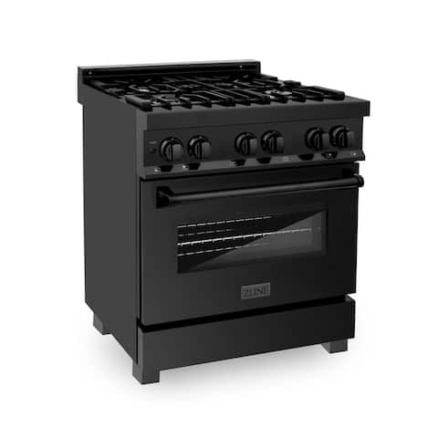 ZLINE Range with Gas Stove and Electric Oven in Black Stainless Steel
