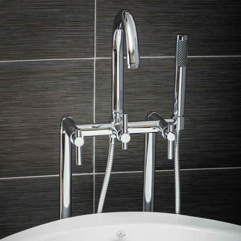 Pelham & White Luxury Tub Filler Faucet, Modern Design, Floor Mount Installation, Lever Handles, Polished Chrome Finish