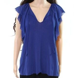 Fuzzi NEW Deep Blue Womens Size Large L Ruffled Split Neck Blouse