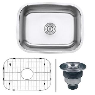 "Ruvati RVM4132  Parmi 23-3/8"" Undermount Single Basin 16 Gauge Stainless Steel Kitchen Sink with Basin Rack and Basket Strainer"