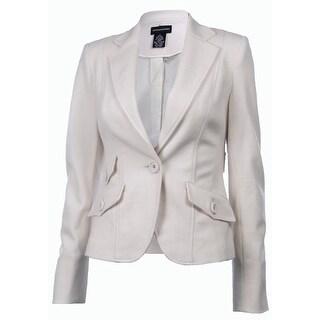 Sutton Studio Womens Notch Collar Blazer Jacket Petite - Vanilla