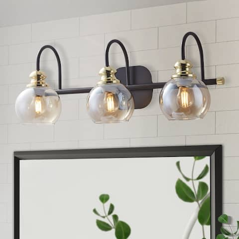 ExBrite 3-light Bathroom Gold Vanity Lights Modern Wall Sconce Lighting with Round Glass Canopy