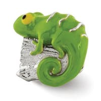 Sterling Silver Reflections Enameled Lizard on Log Bead (4mm Diameter Hole)