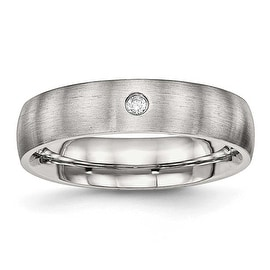 Stainless Steel Brushed Half Round CZ Ring (5.5 mm) - Sizes 6 - 13