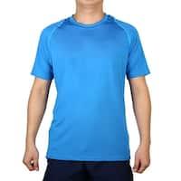 Adult Short Sleeve Clothes Stretchy Badminton Tennis Sports T-shirt Blue M