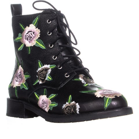 Rebecca Minkoff Gerry Embroidery Lace Up Combat Boots, Black/Floral
