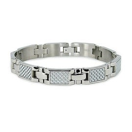 Titanium Bracelet with White Carbon Fiber (10mm Wide) 7.75 Inches