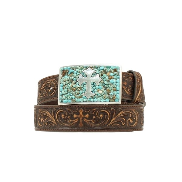 Nocona Western Belt Womens Cross Tooled Brown Turquoise