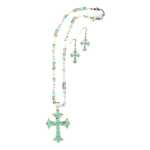 Blazin Roxx Jewelry Womens Necklace Earrings Cross Silver Turq 29092