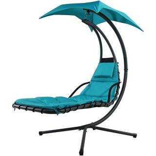Sunnydaze Floating Chaise Lounger Swing Chair with Canopy Umbrella - May Be Color Options to Choose