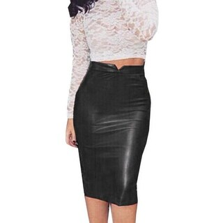 Women Fashion Solid Pu Leather Badycon Skirt Ladies High Waist Pencil Skirt Black Color Pencil Skirt