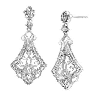 Vintage-Style Drop Earrings with Diamonds in Sterling Silver