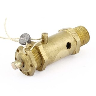 "Unique Bargains Gold Tone 1/4"" Thread Safety Pressure Relief Valve for Pneumatic Compressor"